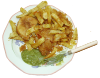 Fish, Cake, Chips,and peas.